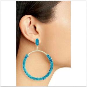 KENDRA SCOTT RUSSEL TEAL AGATE HOOP EARRINGS